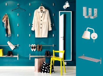 Full-length mirror combined with folding hooks, wall shelves and rails