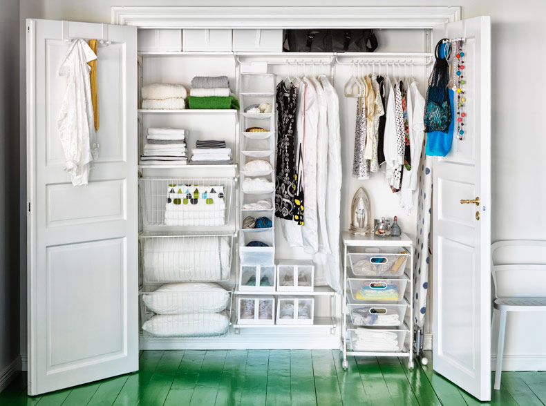 Wardrobe setup with ALGOT and SKUBB storage in white