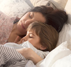 A young woman and her daur wake up in comfy bedding from IKEA