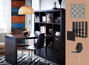 EXPEDIT black-brown desk combination with VILMAR chairs and BÖJA pendant lamp in rattan.
