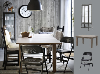 STORNÄS grey-brown extendable table with FRODE folding chairs and FABRIKÖR glass-door cabinet.