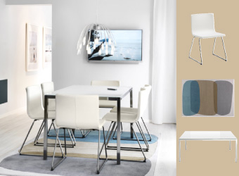 White leather chairs with TORSBY table in glass and chrome