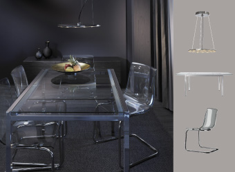Dining table in glass and chrome with transparent chairs