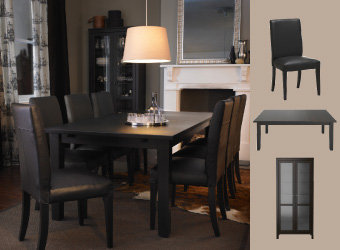 Leather chairs, brown-black table and glass-door cabinet