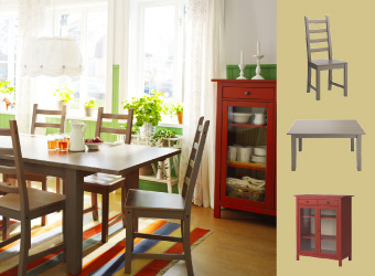 Grey-brown dining table and chairs with red linen cabinet