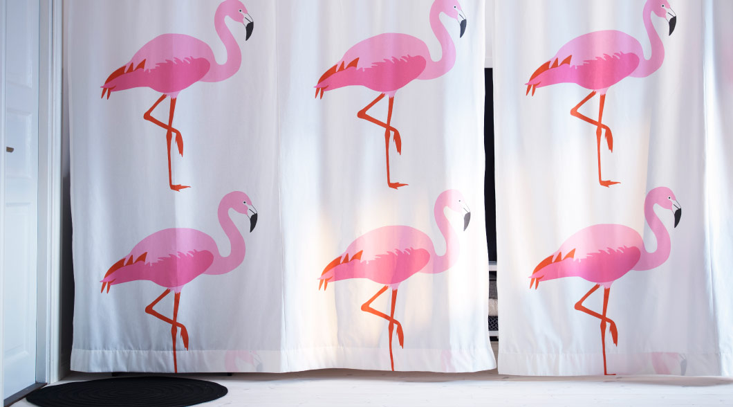 SPRINGKORN fabric with pink flamingoes