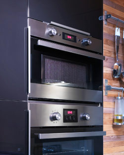 Built-in microwave oven and forced air oven in stainless steel