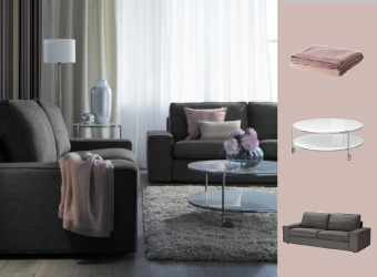KIVIK sofa and STRIND side and coffee tables with DAGNY cushion and throw