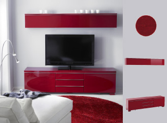 Solution TV BESTÅ finition rouge avec lampadaire TIVED et tapis BÄLUM rouge