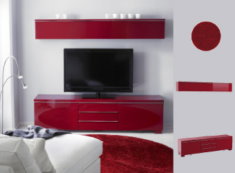 BESTÅ tv solution in red with TIVED floorlamp and BÄLUM red rug