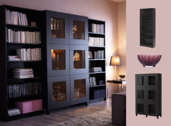 Storage solution with black-brown bookcases and glass-door cabinet