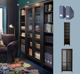 Storage solution with brown bookcases and glass-door cabinet