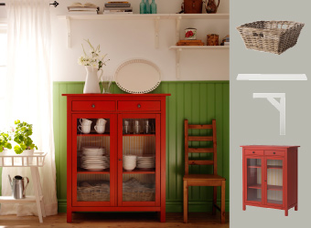 Red linen cabinet with tableware and white wall shelves above