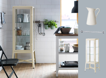 Beige glass-door cabinet and white kitchen trolley with oak worktop