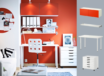White wall shelves with aluminium brackets and white/orange wall cabinet