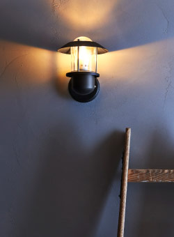 UPPLID small black wall lamp, upwards