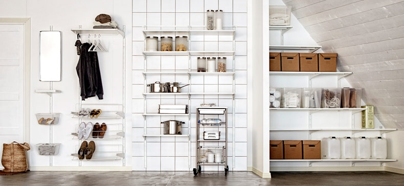 Three different storage solutions with ALGOT in white