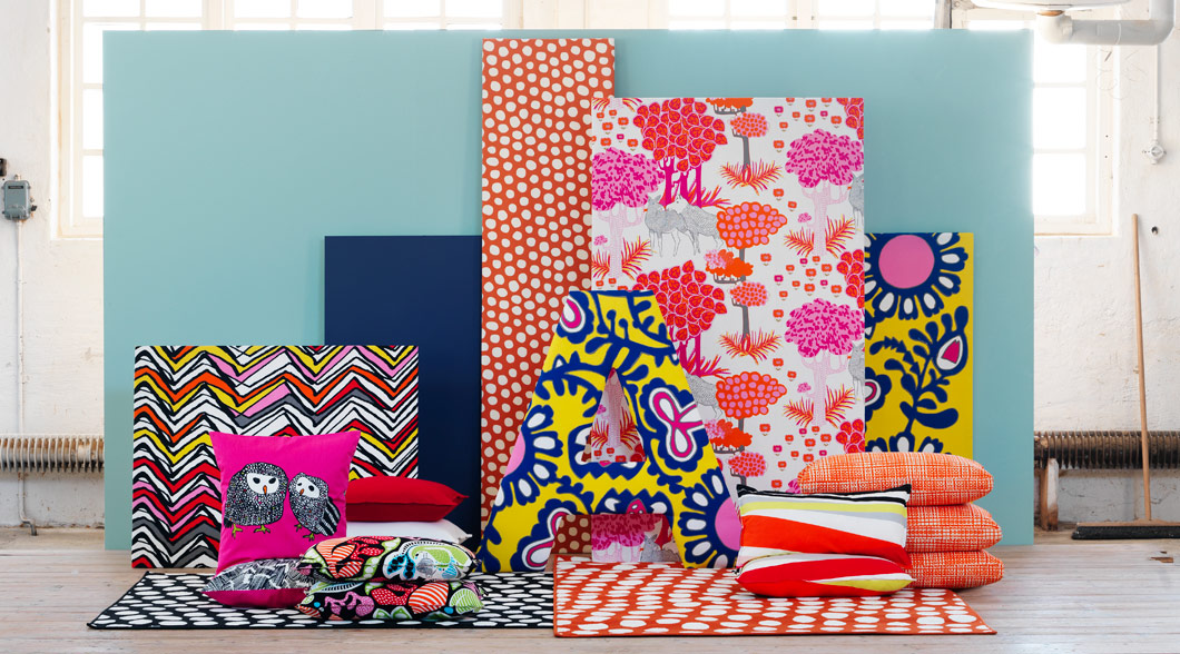 Brightly coloured home textiles with bold patterns