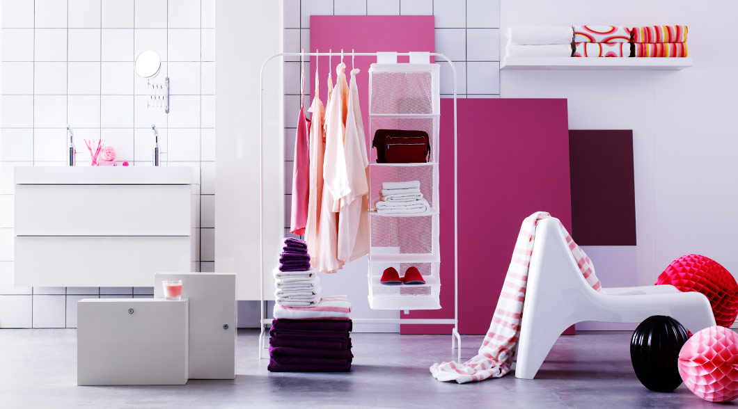 Display of wash-stand, lockable cabinets, clothes rack and towels