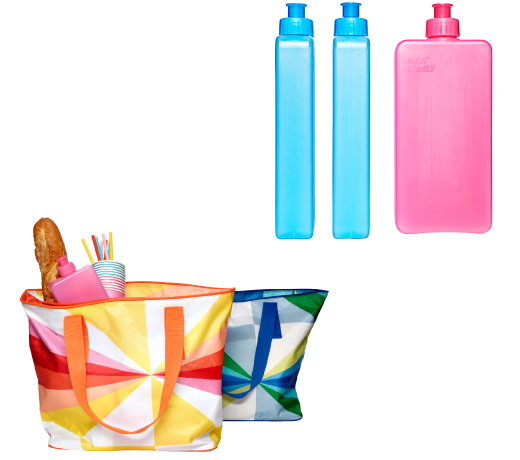 Freezable water bottles in blue and pink can be used as an ice pack