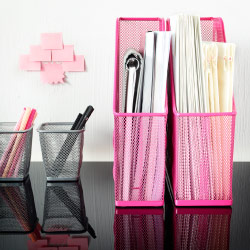 DOKUMENT magazine files in pink steel