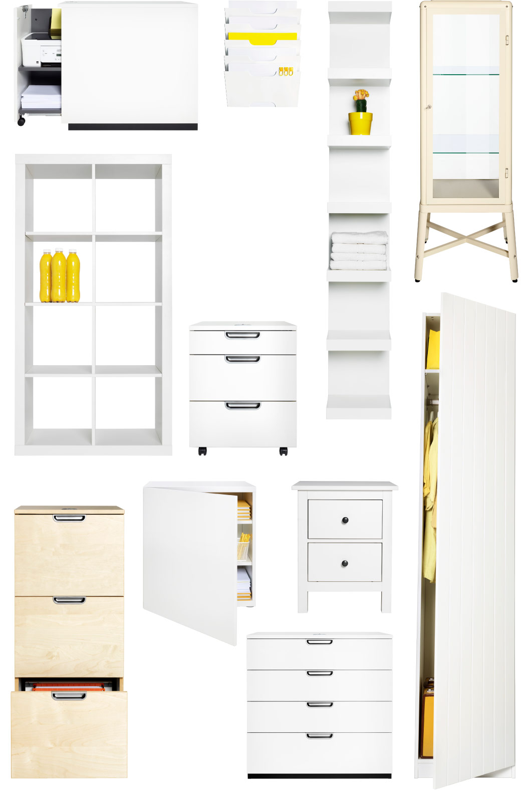 Collage of white furniture for your office