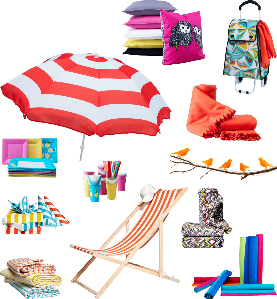 Collage of summer accessories, such as beach umbrella, paper plates, cushions, beach chair, blankets and rugs