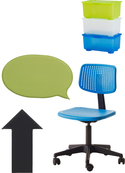 GLIS plastic boxes in light green/white/blue and ALRIK blue swivel chair on castors