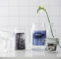 Pictures shown in clear glass jars in different sizes