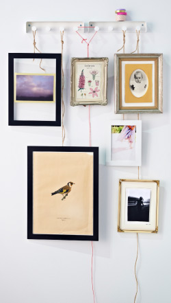 Picture frames in different sizes hung on a towel rack