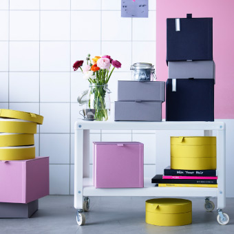 Display of boxes in different shapes, sizes and colours