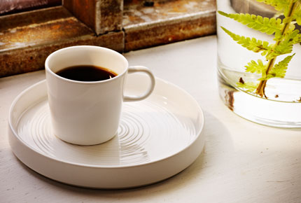 STOCKHOLM espresso cup standing on STOCKHOLM plate in white, by IKEA