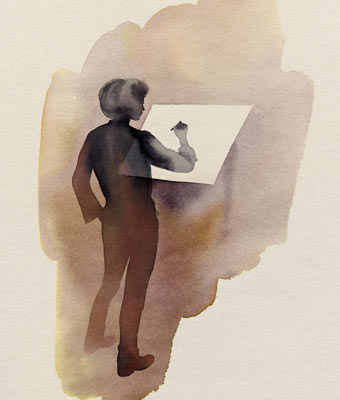 Watercolour illustration of craftsman – STOCKHOLM collection by IKEA