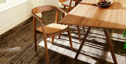 STOCKHOLM dining table and chairs in walnut, by IKEA