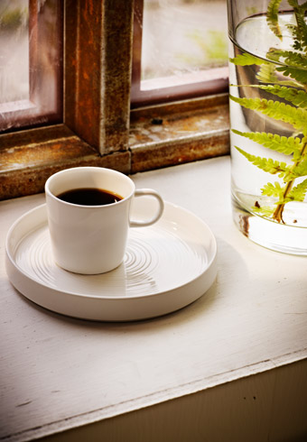 STOCKHOLM white espresso cup in bone china on STOCKHOLM plate, by IKEA