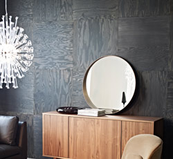 STOCKHOLM sideboard in walnut veneer with STOCKHOLM chandelier and STOCKHOLM mirror, by IKEA
