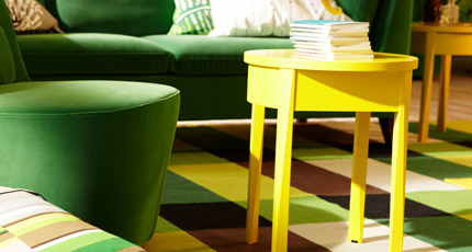 STOCKHOLM swivel chair in Sandbacka green on STOCKHOLM flatwoven rug in chequered green, by IKEA