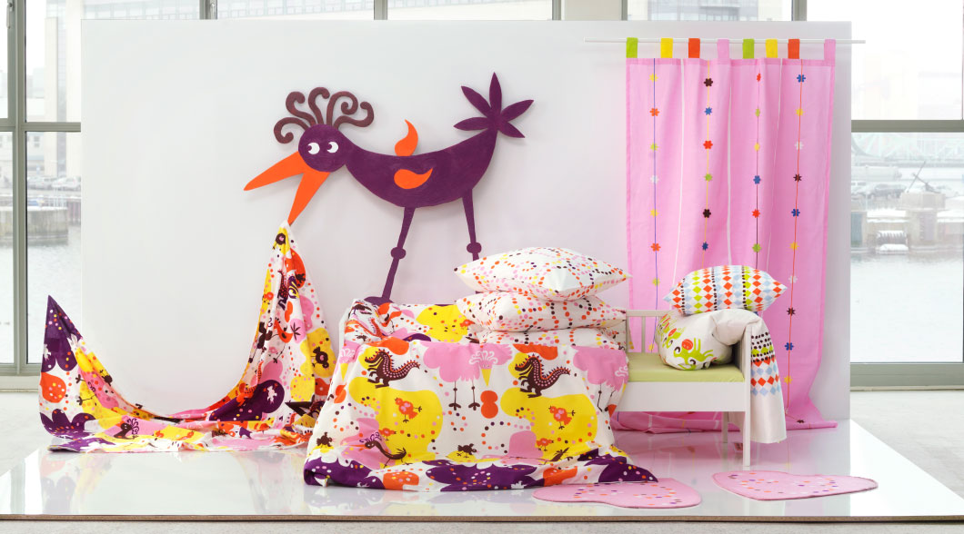 Display of bedlinen and textiles for children