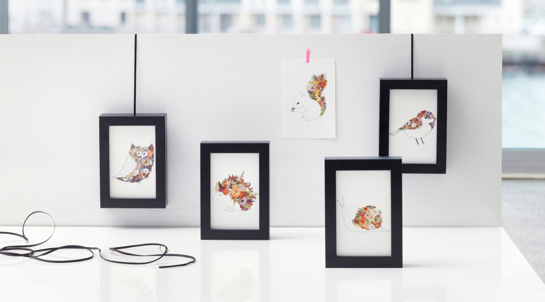 RIBBA black picture frames with animal cards