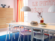 White dining tables, chairs, table lamps and wall cabinets with pine veneer doors