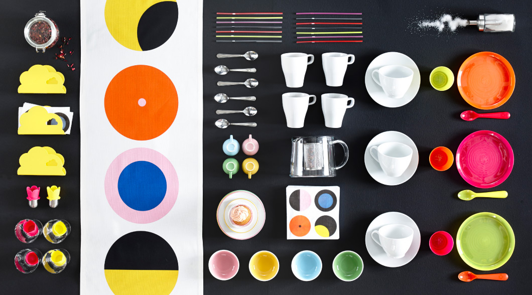 Collage of tea infusers, spoons, mugs, napkin holders and children's plates and glasses