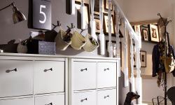 Storage in shoe cabinets and baskets