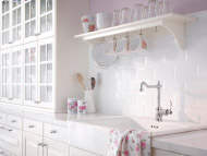 LIDINGÖ white kitchen with DOMSJÖ sink and GLITTRAN kitchen mixer tap