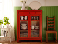 HEMNES red linen cabinet and KAUSTBY chair in antique stain
