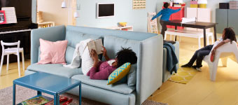 SÖDERHAMN sofas back-to-back and IKEA PS coffee table