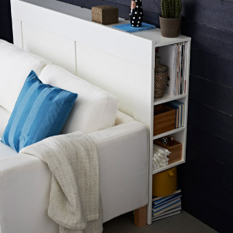 Storage units living room storage ikea Brimnes headboard hack