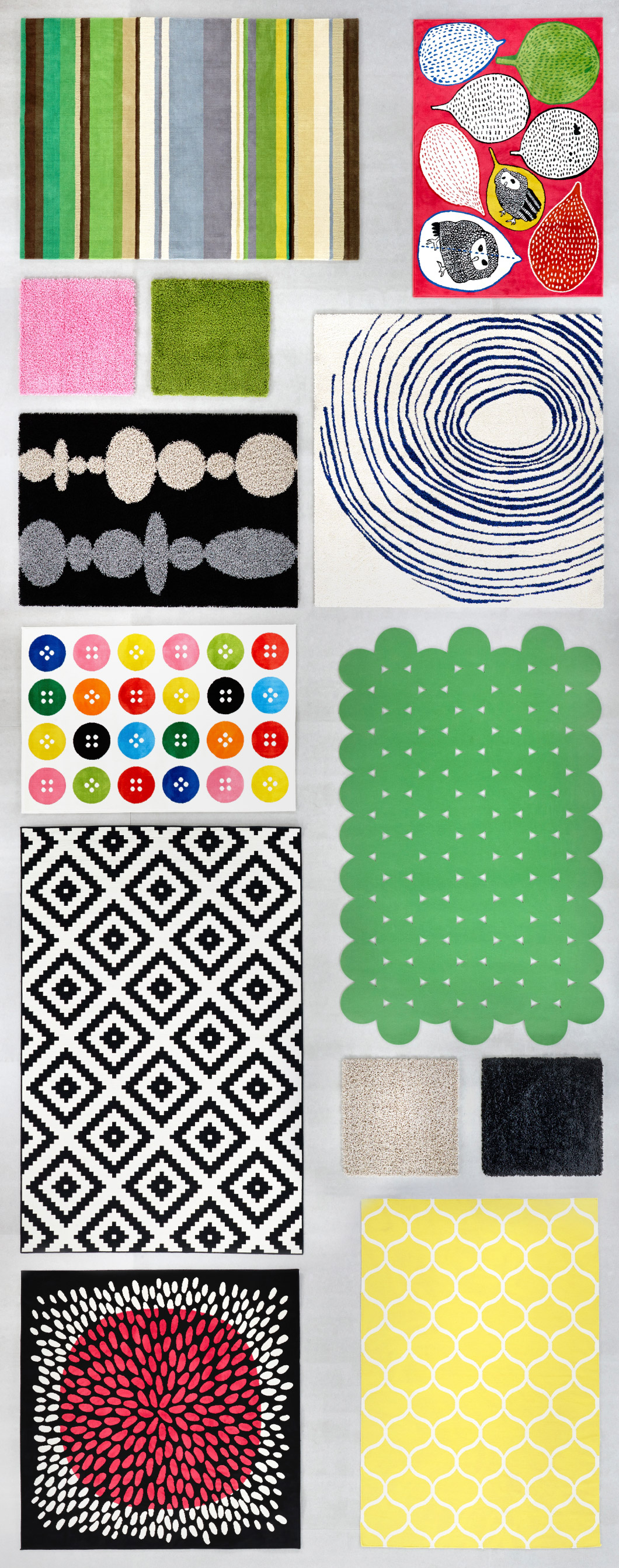 Display of rugs in different sizes, colours and shapes