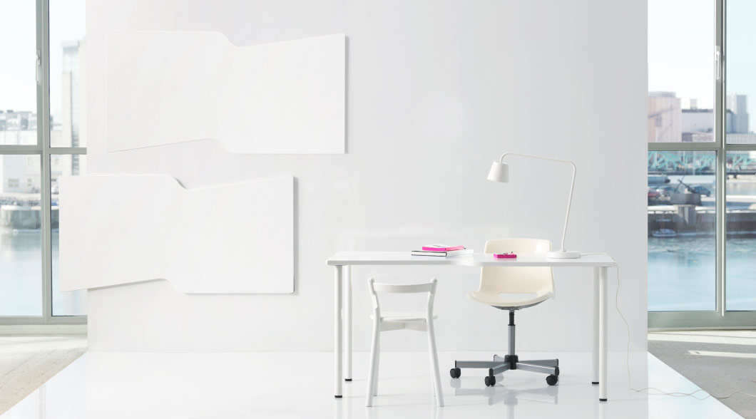 Display of HISSMON white table top with zig-zag edge