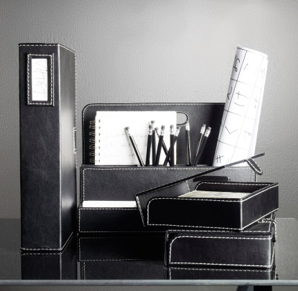 RISSLA black desk organiser and box files
