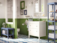 HEMNES white wash-basin cabinet, mirror cabinet and blue bench, shelving unit